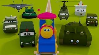 bob o trem   visita acampamento do exército   Vídeo para crianças   Bob Visit To army Camp