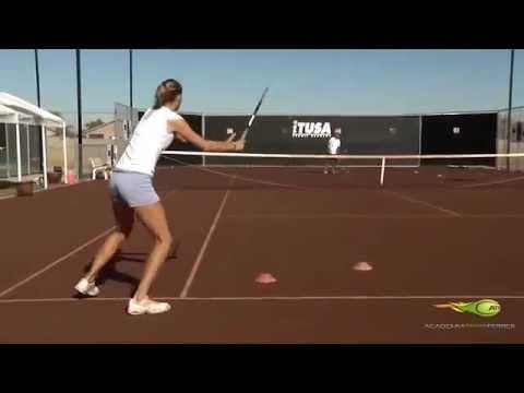 Video Ejercicio Academia Tenis Ferrer-Quitada De Derecha Cruzando En Movimiento.