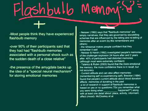 flashbulb memories The consistency of flashbulb memories vivid memories following shocking experiences are not completely accurate posted jun 26, 2015.