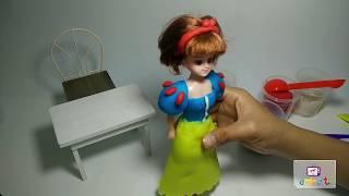 Dạy bé làm đồ chơi từ đất sét | làm váy cho công chúa Bạch Tuyết
