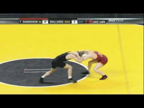 Cyler Sanderson (ISU) vs Matt Ballweg (Iowa) pt 1- 2008 College Wrestling Video