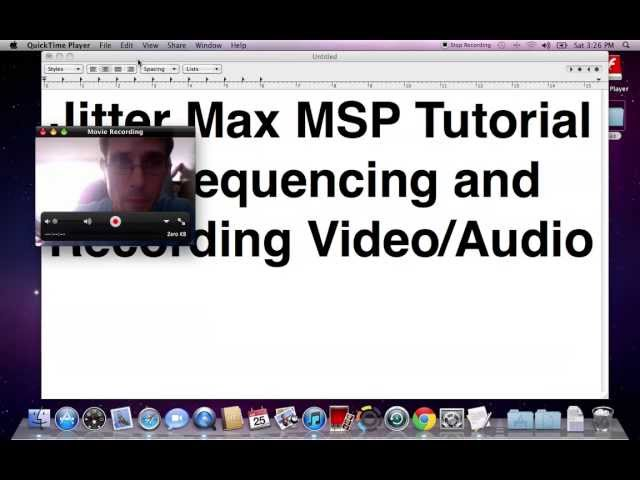 Jitter Max MSP tutorial: Sequencing and Recording Video/Audio