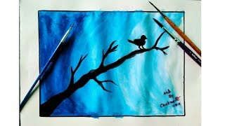 Easy poster color painting on canvas bird in moonlight postercolor painting