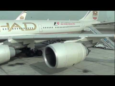 Etihad Airways Airbus A340-500 [A6-EHC] takeoff from Abu Dhabi International Airport [HD]