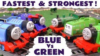 Thomas and Friends Fastest and Strongest Train Competition - Blue Trains vs Green Trains