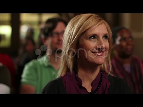 Caucasian Woman Sitting In A Pew At Church. Stock Footage