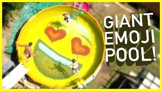 😎DAD TURNS POOL INTO EMOJI!! 😍