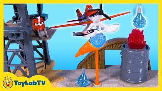 Disney Planes Fire and Rescue Toys Air Attack Training Playset Fusel Lodge Patch Dusty Blade Ranger