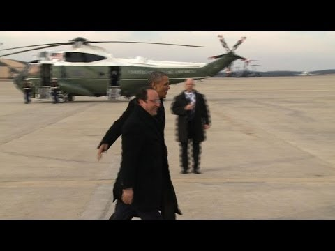 French President arrives in US, greeted by Obama. Duration: 01:01