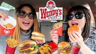 WENDY'S MUKBANG (BURGERS, CHICKEN NUGGETS, FRIES) | Kim&Liz ASMR