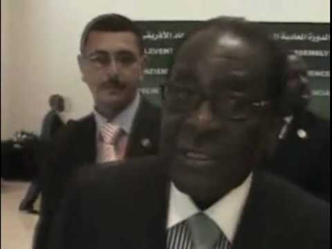 Mugabe calls a journalist a bloody idiot at the African Union Summit in Egypt - 1 July 2008.VOB