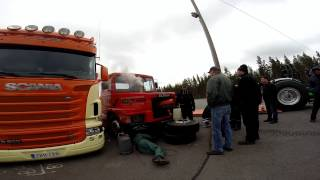 Pulling Scania hard coldstart at Pesämäki pulling stadium 23.5.2015