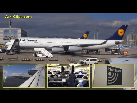 Lufthansa Airbus A340-300 Business Class Frankfurt to Doha [AirClips full flight series]