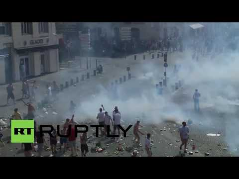 France: Riot police and England fans clash ahead of Russia match