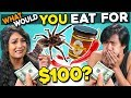 What Will You Eat For $100? | People Vs. Food