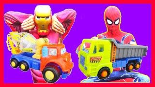 Siêu Nhân Người Sắt lắp ráp đồ chơi: Xe Xúc Đất, Xe Tải Bê Tông, Xe Tải| IronMan assembled Car Toys
