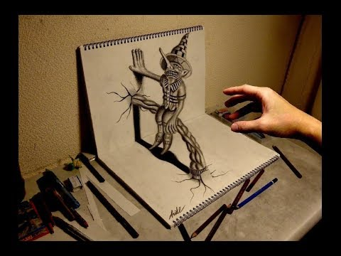 3D Drawing - How to draw 3D ART(Residents on the sketchbook) 3Dアートの制作風景