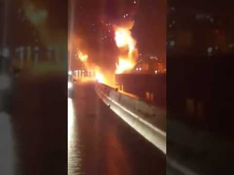 12/17/2016 Interstate 95 Tractor Trailer Explosion Icy Roads Crash South Baltimore