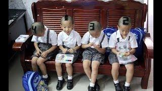 4 bé sinh 4 được mẹ để kiểu tóc dễ thương để nhận biết bây giờ ra sao