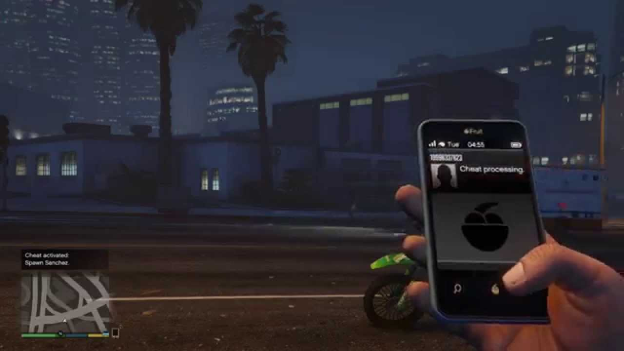 GTA 5 New cell phone cheat code spawn sanchez NEW!! PS4 XBOX ONE ...