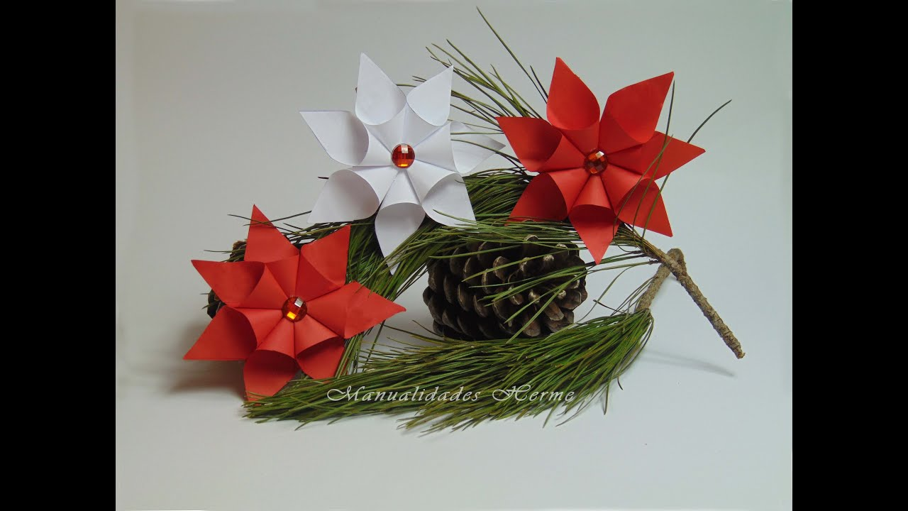 Diy flor de nochebuena youtube for Adornos con plantas de nochebuena