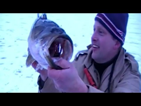BIGGEST BASS Ice Fishing!! OMG My best Largemouth ever!! WOW!