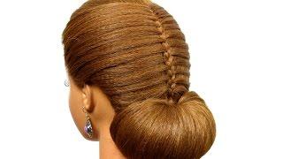 Bun updo. Hairstyle for long medium hair tutorial