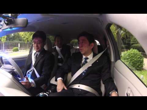 Japanese PM Shinzo Abe Rides in an Autonomous Drive Nissan LEAF