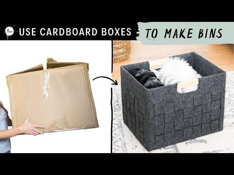 DIY Storage Box - from a Cardboard Box into a Pretty Felt Bin! - YouTube