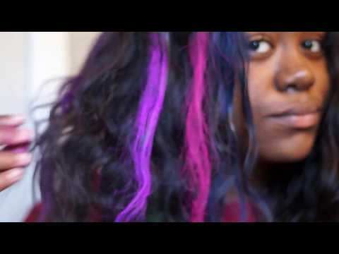 Hot Huez Hair Chalk on BLACK hair!   First Impression Demo and Review