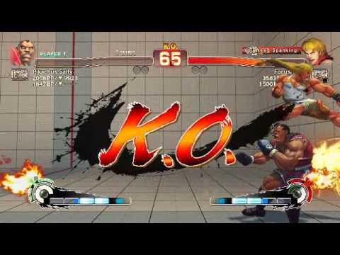 FocusAttack Ken Cross up jump HK post back throw (0:46): Balrog vs Ken