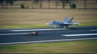 F A 18 HORNET FIGHTER JET VS F1 CAR RACING  BY  EX SPORTS