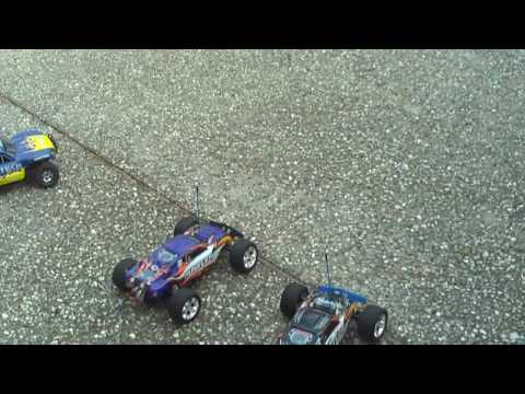 2 brushed rustlers vs. brushless slash (sorta)