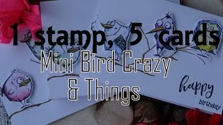 1 stamp, 5 cards; Tim Holtz Mini Crazy birds and things