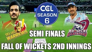 CCL6 - Telugu Warriors vs Bhojpuri Dabanggs - Fall Of Wickets 2nd Innings