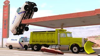 CRASHING INTO AN EXPLODING GAS STATION - BeamNG Drive Police Chase