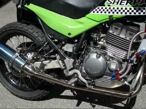 Kawasaki Super Sherpa and down muffler!! Video