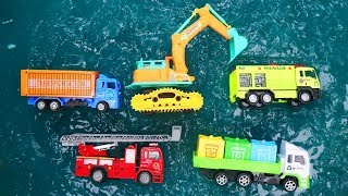 Fine Toys Car Under The Water Slime. Excavator | Truck | Wheel Loader | Fire truck