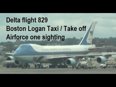 Unusual Boston Logan take off/taxi - Air force one sighting! Delta Flight 829 Boeing 757 seat 43F