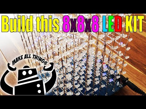 8x8x8 3D LED cube kit tutorial how-to build this one of a kind project