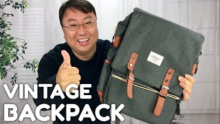 Stylish Backpack for College: The Puersit Vintage Grey Canvas Laptop Backpack Review