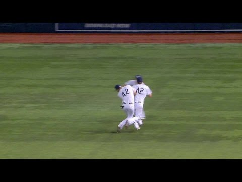 CWS@TB: Forsythe and Kiermaier collide on a catch