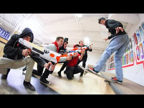 Skate Tricks VS Epic Nerf Gun Arsenal / Warehouse Wednesday