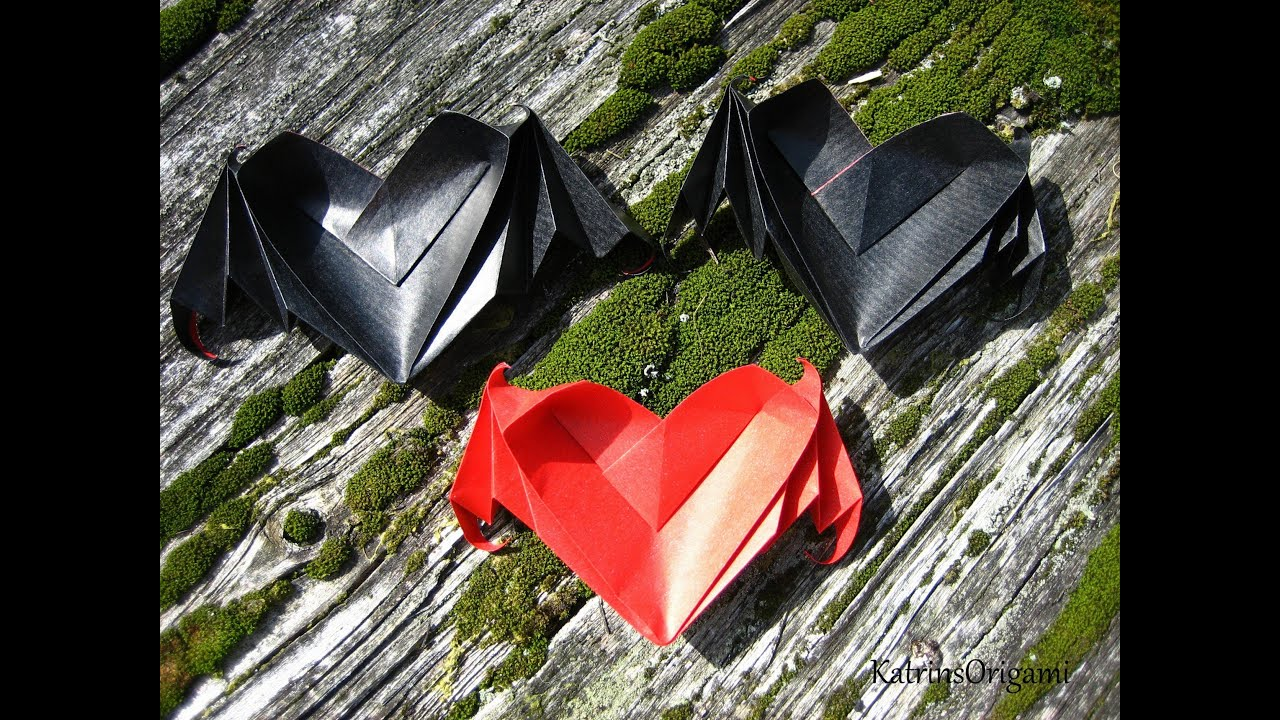 Bat Heart Origami Origami ♥ Bat-winged Heart ♥