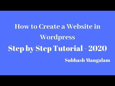 How to Create Website in Wordpress 2020 - Step By Step Explanation
