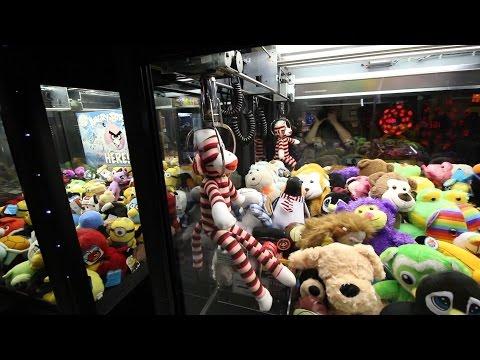 2 PRIZES - ONE TRY! Bowling Alley Claw Machine Wins + Popeye/Smurfs