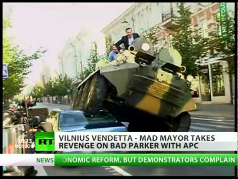 Mad Vilnius mayor on APC crushes car for illegal parking