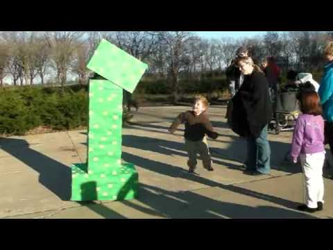 The Creeper visits Millennium Park Part 1 (Minecraft Costumes)