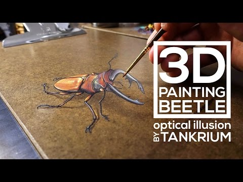 3D Beetle Drawing, Amazing 3D Painting - Optical Illusion | Realistic Anamorphic Illusion Art