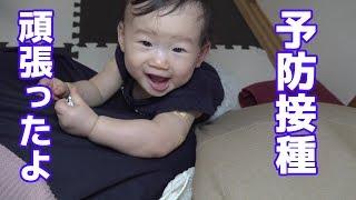 予防接種を頑張った赤ちゃんシールをママに貼るの巻